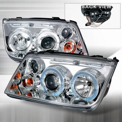 Custom Disco - Volkswagen Jetta Custom Disco Chrome & Clear Halo Projector Headlights - LHP-JET99-YD