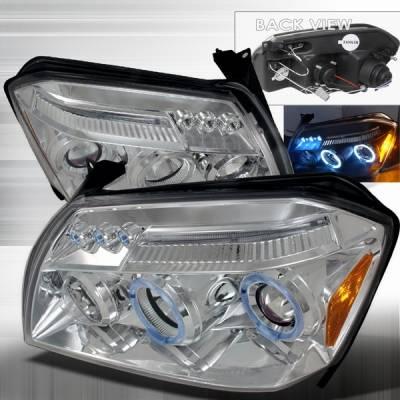 Custom Disco - Dodge Magnum Custom Disco Chrome Halo Projector Headlights - LHP-MAG05-TM