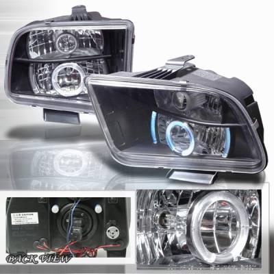 Custom Disco - Ford Mustang Custom Disco Black Halo Projector Headlights - LHP-MST05JM-YD