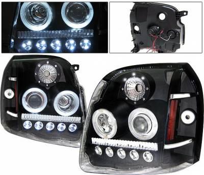 4 Car Option - GMC Yukon 4 Car Option LED Halo Projector Headlights - Black - LP-GY07BC-1-A