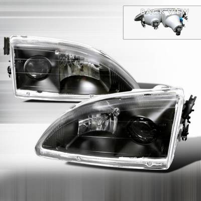 Custom Disco - Ford Mustang Custom Disco Black Projector Headlights - LHP-MST95JM-APC