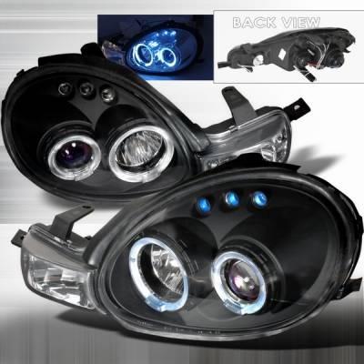 Custom Disco - Dodge Neon Custom Disco Black LED Halo Projector Headlights & Parking Lights - LHP-NEO00JMB-TM