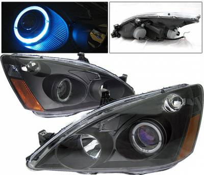 4 Car Option - Honda Accord 4 Car Option Halo Projector Headlights - Black - 1PC - LP-HA03BBR-KS