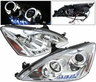 4 Car Option - Honda Accord 4 Car Option LED Halo Projector Headlights - Chrome - LP-HA03CB-YD