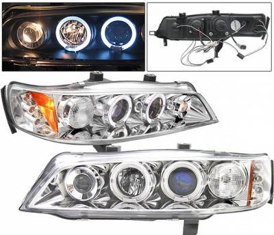 4 Car Option - Honda Accord 4 Car Option LED Dual Halo Projector Headlights - Chrome - LP-HA94CB-5