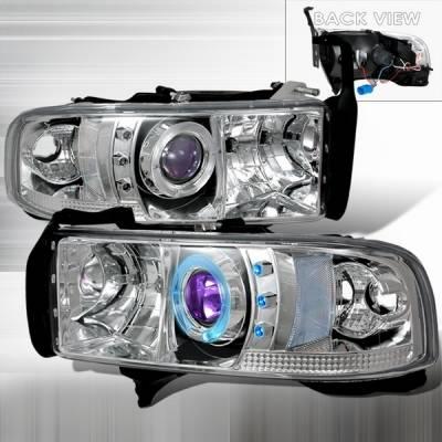 Custom Disco - Dodge Ram Custom Disco Clear Halo Projector Headlights - LHP-RAM94B-YD