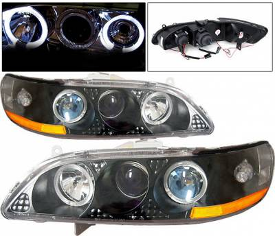 4 Car Option - Honda Accord 4 Car Option Dual Halo Projector Headlights - Black - 1PC - LP-HA98BBR-KS