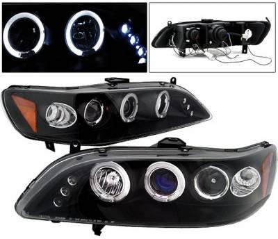 4 Car Option - Honda Accord 4 Car Option LED Halo Projector Headlights - Black - LP-HA98BC-5