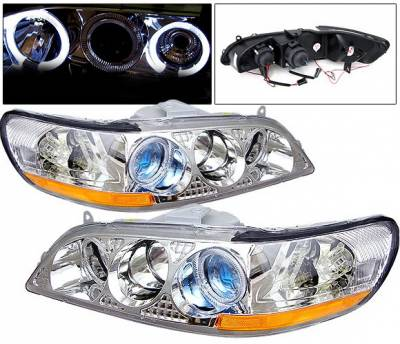 4 Car Option - Honda Accord 4 Car Option Dual Halo Projector Headlights - Chrome - 1PC - LP-HA98CBR-KS