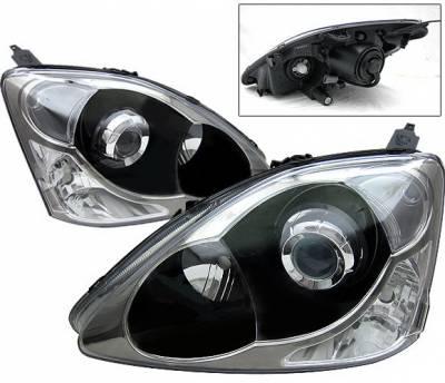 4 Car Option - Honda Civic 4 Car Option Projector Headlights - Black - LP-HC02SIB-DP