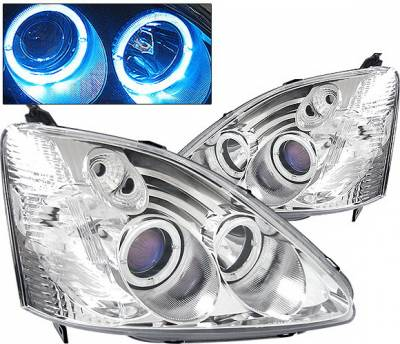 4 Car Option - Honda Civic HB 4 Car Option Dual Halo Projector Headlights - Chrome - LP-HC03CB-KS