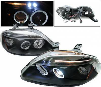 4 Car Option - Honda Civic 4 Car Option LED Dual Halo Projector Headlights - Black - LP-HC96BB-5