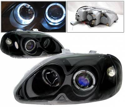 4 Car Option - Honda Civic 4 Car Option Dual Halo Projector Headlights - Black - LP-HC96BBR-KS