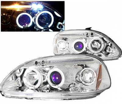 4 Car Option - Honda Civic 4 Car Option LED Dual Halo Projector Headlights - Chrome - LP-HC96CB-5