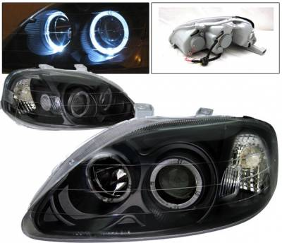 4 Car Option - Honda Civic 4 Car Option Dual Halo Projector Headlights - Black - LP-HC99BBR-KS