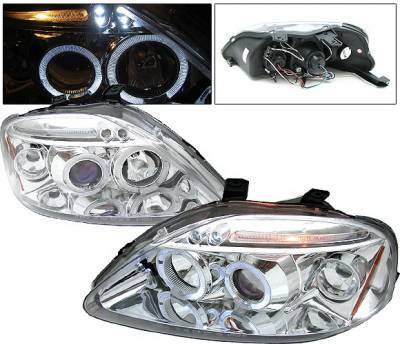 4 Car Option - Honda Civic 4 Car Option LED Dual Halo Projector Headlights - Chrome - LP-HC99CB-5