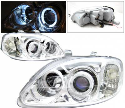 4 Car Option - Honda Civic 4 Car Option Dual Halo Projector Headlights - Chrome - LP-HC99CBR-KS