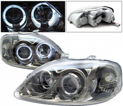 4 Car Option - Honda Civic 4 Car Option Dual Halo Projector Headlights - Gunmetal - LP-HC99GBR-KS