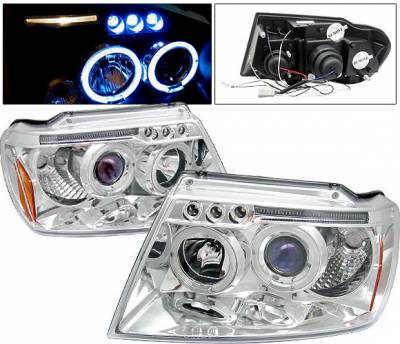 4 Car Option - Jeep Grand Cherokee 4 Car Option LED Dual Halo Projector Headlights - Chrome - LP-JGC99CB-5