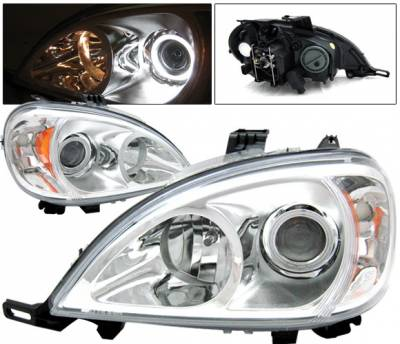 4 Car Option - Mercedes-Benz ML 4 Car Option Halo Projector Headlights - Chrome - LP-MBW16302CC-KS