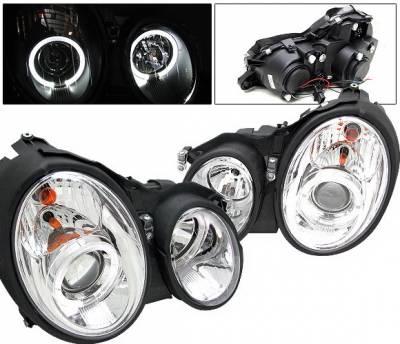 4 Car Option - Mercedes-Benz CLK 4 Car Option Halo Projector Headlights - Chrome - LP-MBW208C-YD
