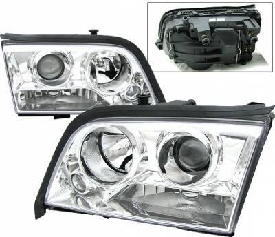 4 Car Option - Mercedes-Benz C Class 4 Car Option Projector Headlights - Chrome - LP-MBZC94C-KS