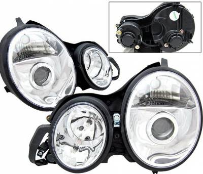 4 Car Option - Mercedes-Benz E Class 4 Car Option Projector Headlights - Chrome - LP-MBZE95CC-KS