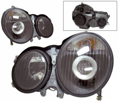 4 Car Option - Mercedes-Benz E Class 4 Car Option Projector Headlights - Black - LP-MBZE99BC-KS