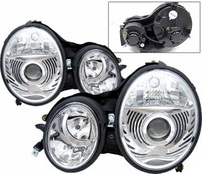 4 Car Option - Mercedes-Benz E Class 4 Car Option Projector Headlights - Chrome - LP-MBZE99CC-9