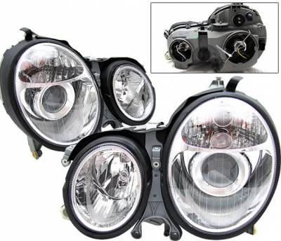 4 Car Option - Mercedes-Benz E Class 4 Car Option Projector Headlights - Chrome - LP-MBZE99CC-DP
