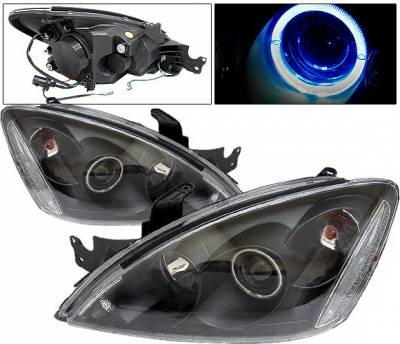 4 Car Option - Mitsubishi Lancer 4 Car Option Halo Projector Headlights - Black - LP-ML04BB-KS