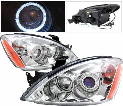 4 Car Option - Mitsubishi Lancer 4 Car Option Halo Projector Headlights - Chrome - LP-ML04CB-KS
