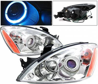 4 Car Option - Mitsubishi Lancer 4 Car Option Halo Projector Headlights - Chrome CCFL - LP-ML04CC-KS-CCFL