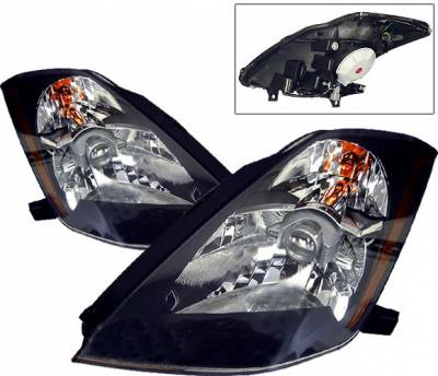 4 Car Option - Nissan 350Z 4 Car Option Projector Headlights - Black - LP-N350ZB-KS