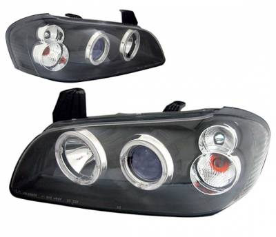4 Car Option - Nissan Maxima 4 Car Option Dual Halo Projector Headlights - Black - LP-NM00BB-KS