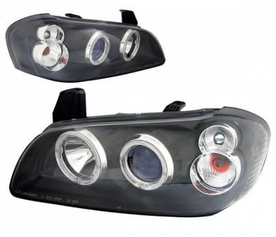 4 Car Option - Nissan Maxima 4 Car Option Dual Halo Projector Headlights - Black - LP-NM00BB-KS