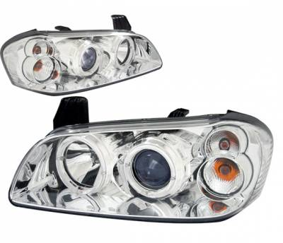 4 Car Option - Nissan Maxima 4 Car Option Dual Halo Projector Headlights - Chrome - LP-NM00CB-KS