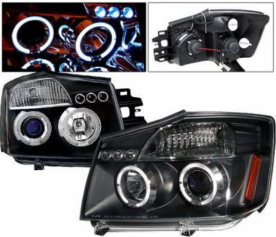 4 Car Option - Nissan Titan 4 Car Option LED Dual Halo Projector Headlights - Black - LP-NTIT04BB-5