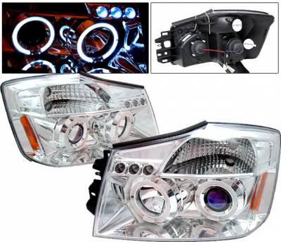 4 Car Option - Nissan Titan 4 Car Option LED Dual Halo Projector Headlights - Chrome - LP-NTIT04CB-5