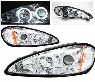 4 Car Option - Pontiac Grand Am 4 Car Option LED Halo Projector Headlights - Chrome CCFL - LP-PGAM99CC-KS