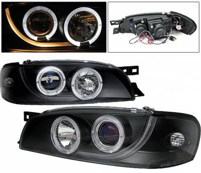 4 Car Option - Subaru Impreza 4 Car Option Dual Halo Projector Headlights - Black - LP-SI95BB-YD