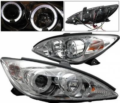 4 Car Option - Toyota Camry 4 Car Option Halo Projector Headlights - Chrome - LP-TCA02CC-YD
