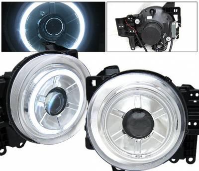4 Car Option - Toyota FJ Cruiser 4 Car Option Halo Projector Headlights - Chrome CCFL - LP-TFJ07CB-KS