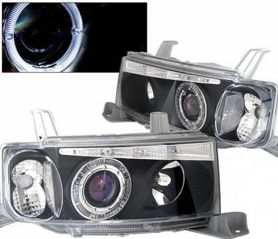 4 Car Option - Scion xB 4 Car Option Dual Halo Projector Headlights with LED - Black - LP-TS02BBR-KS
