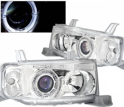 4 Car Option - Scion xB 4 Car Option Dual Halo Projector Headlights with LED - Chrome - LP-TS02CBR-KS