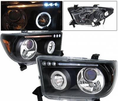 4 Car Option - Toyota Tundra 4 Car Option Dual Halo LED Projector Headlights - Black - LP-TTUN07BB-5