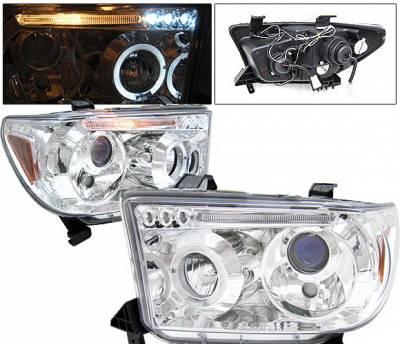 4 Car Option - Toyota Tundra 4 Car Option Dual Halo LED Projector Headlights - Chrome - LP-TTUN07CB-5