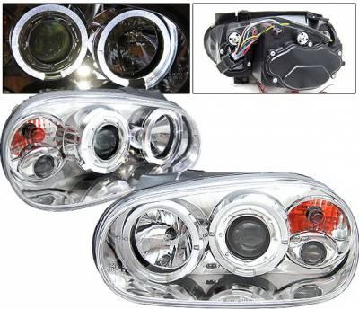 4 Car Option - Volkswagen Golf 4 Car Option Halo Projector Headlights - Chrome - LP-VG99CB-YD