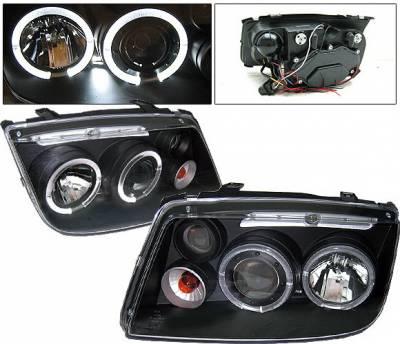 4 Car Option - Volkswagen Jetta 4 Car Option Halo Projector Headlights - Black - LP-VJ99BC-YD