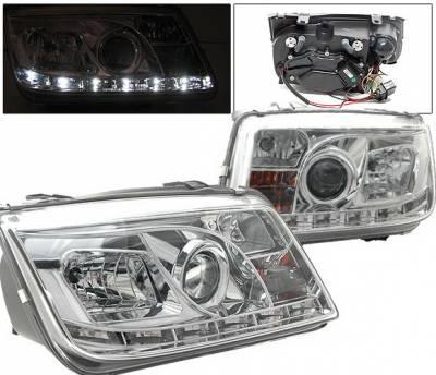 4 Car Option - Volkswagen Jetta 4 Car Option Projector Headlights - R8 DRL - Chrome - LP-VJ99CDR-YD